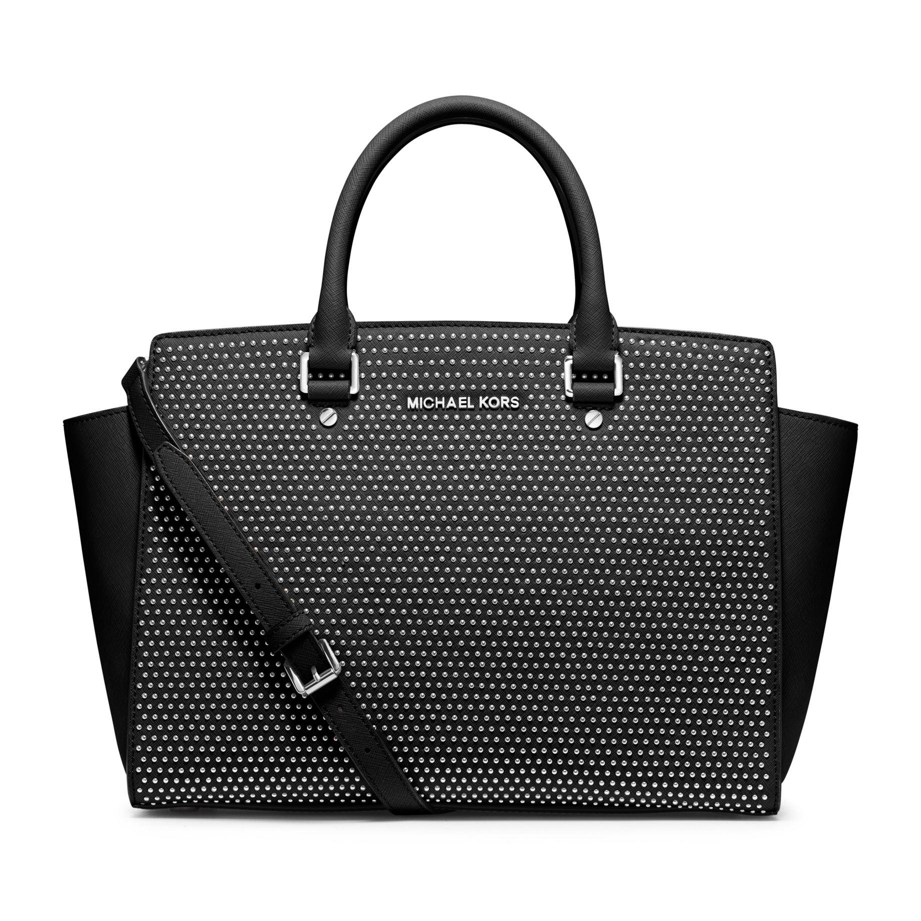 MICHAEL Michael Kors Micro Stud Selma Leather Satchel Bag