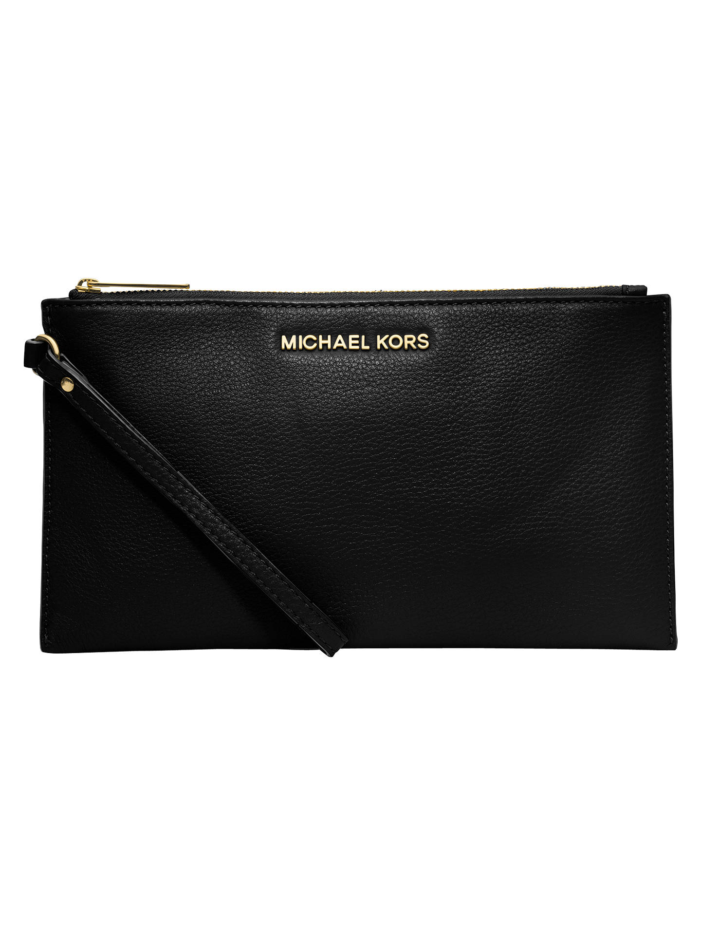 c068b3fa312 Buy MICHAEL Michael Kors Bedford Large Zip Leather Clutch Bag, Black Online  at johnlewis.
