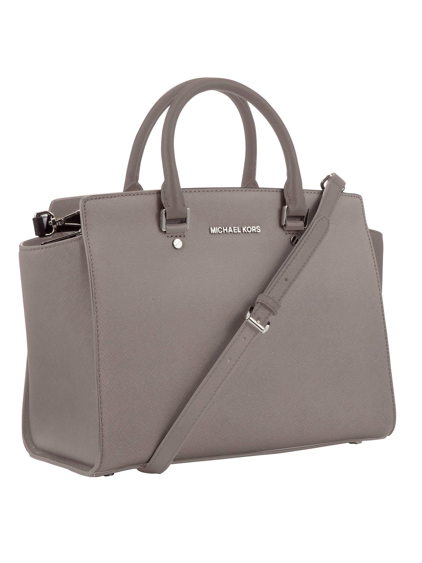 a95fae5063d10 ... buy buymichael michael kors selma large leather top zip satchel bag  grey online at johnlewis.