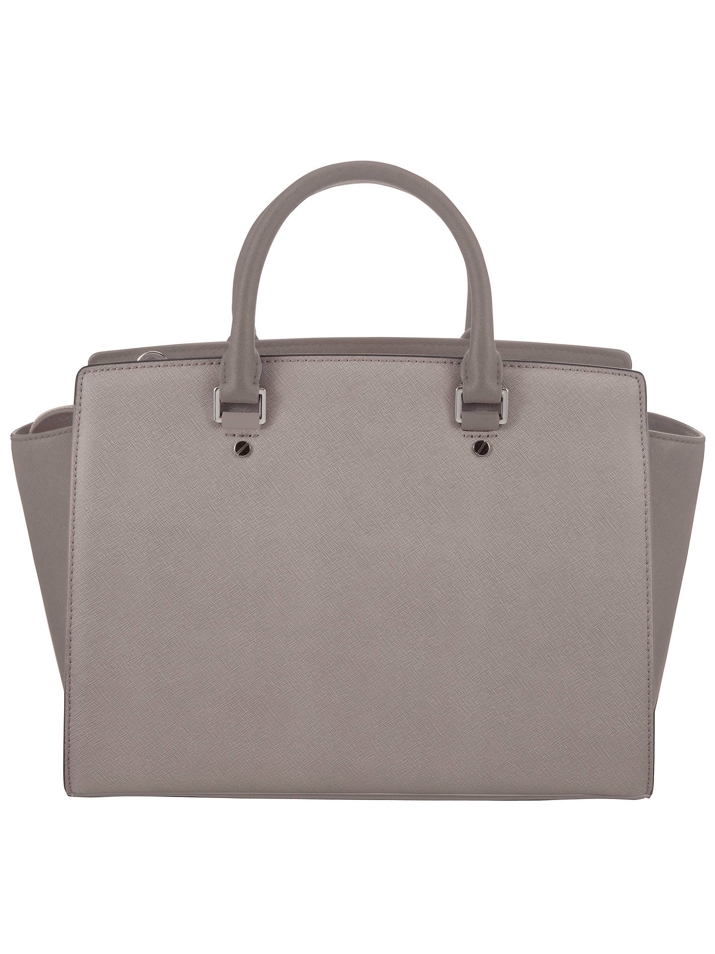 7ac1db8a4e87e1 ... Buy MICHAEL Michael Kors Selma Large Leather Top Zip Satchel Bag, Grey  Online at johnlewis ...