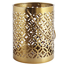 Buy John Lewis Small Cut-out Hurricane Lantern, Gold Online at johnlewis.com
