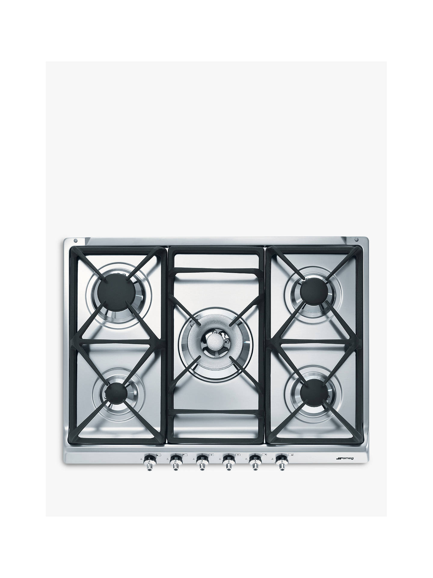 BuySmeg SE70SGH-5 Gas Hob, Stainless Steel Online at johnlewis.com