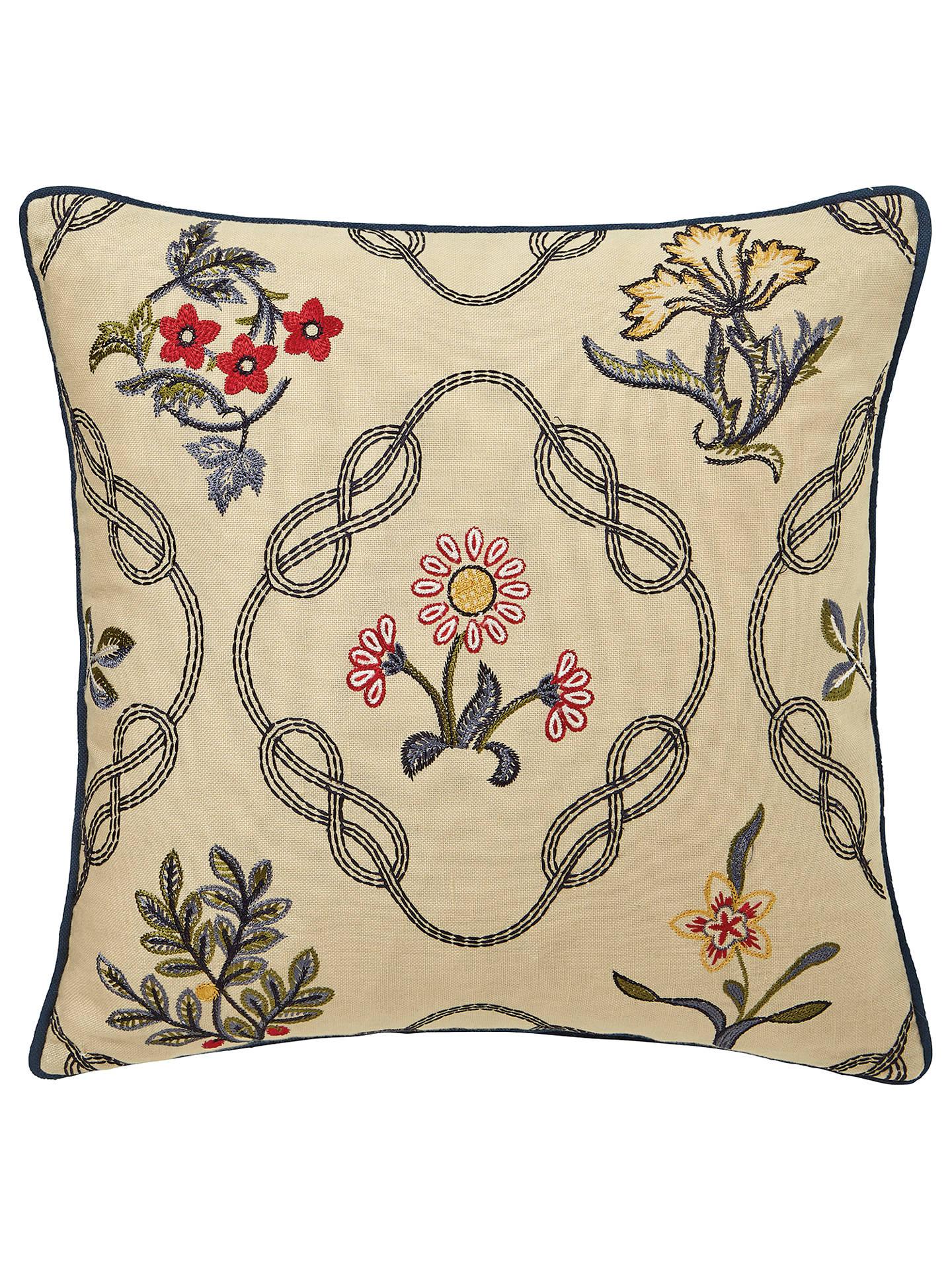 a333772b5d60 Morris   Co. Strawberry Thief Embroidered Cotton Cushion at John ...
