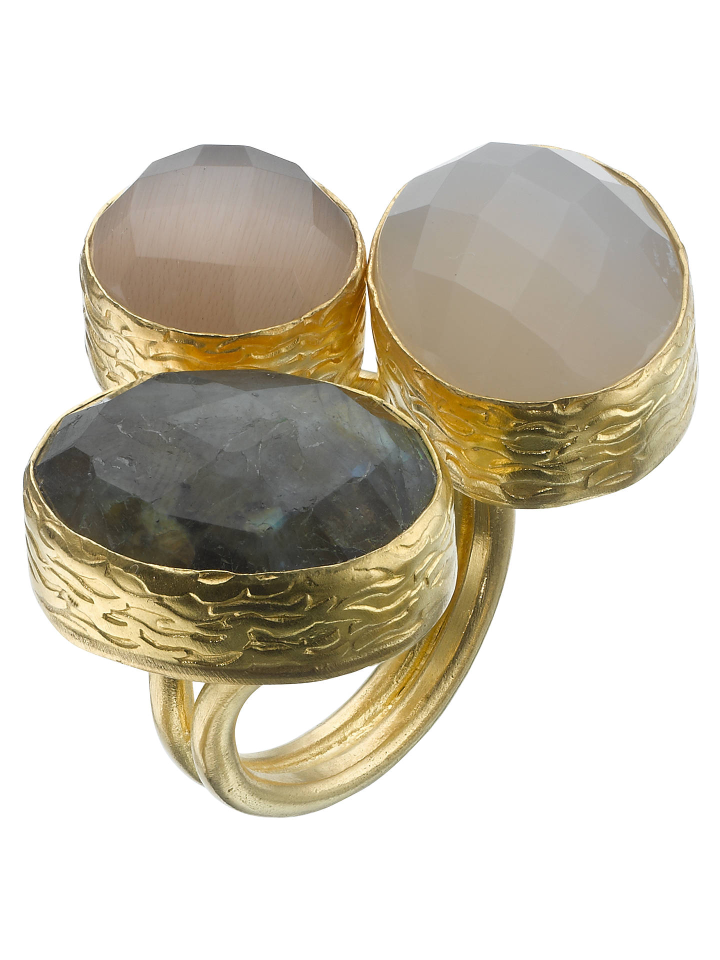 Buy Ottoman Hands 21ct Gold Plated Triple Stone Teardrop Ring, Smokey Quartz / Labradorite Online at johnlewis.com