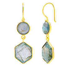 Buy Auren 18ct Gold Vermeil Labradorite Hexagon Double Drop Earrings, Gold/Blue Online at johnlewis.com