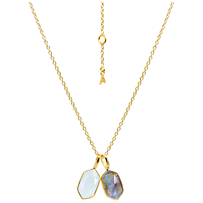 Auren 18ct Gold Vermeil Rose Cut Hexagon Pendant Necklace, Aqua/Labradorite.