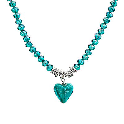 Martick Murano Heart and Crystal Pendant Necklace