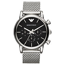 Buy Emporio Armani AR1811 Men's Chronograph Stainless Steel Bracelet Strap Watch, Silver/Black Online at johnlewis.com