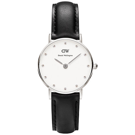 Buy Daniel Wellington Women's Sheffield Classy Swarovski Crystal Leather Strap Watch, Black/White Online at johnlewis.com