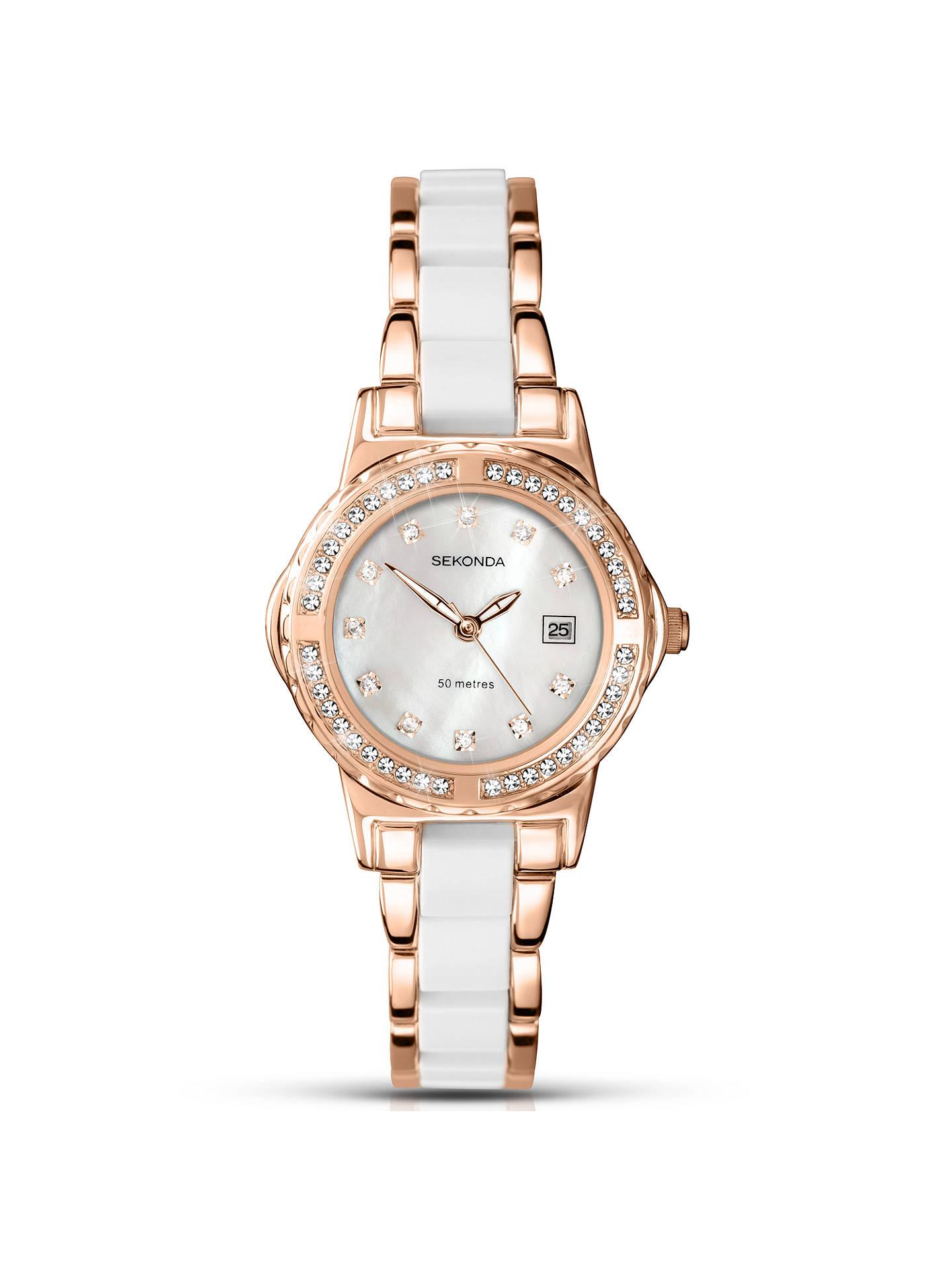 dd59ceba02446 Sekonda 2022.27 Women's Date Two Tone Bracelet Strap Watch, White ...