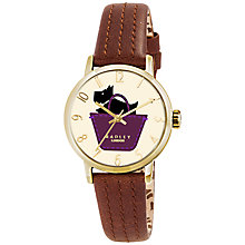 Buy Radley RY2290 Women's Basket Dog Stitch Leather Strap Watch, Tan/Cream Online at johnlewis.com