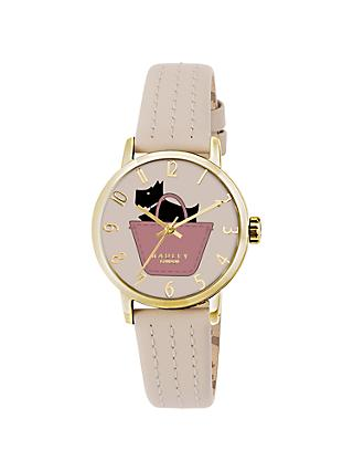 Radley RY2288 Women's Basket Dog Stitch Leather Strap Watch, Taupe/Multi