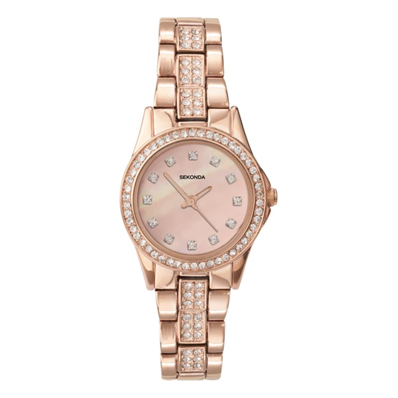 Sekonda Sekonda 2034.27 Women's Rose Gold Plated Bracelet Strap Watch, Sandblast Rose