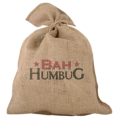 Image of 'Bah Humbug' Traditional Jute Christmas Santa Sack