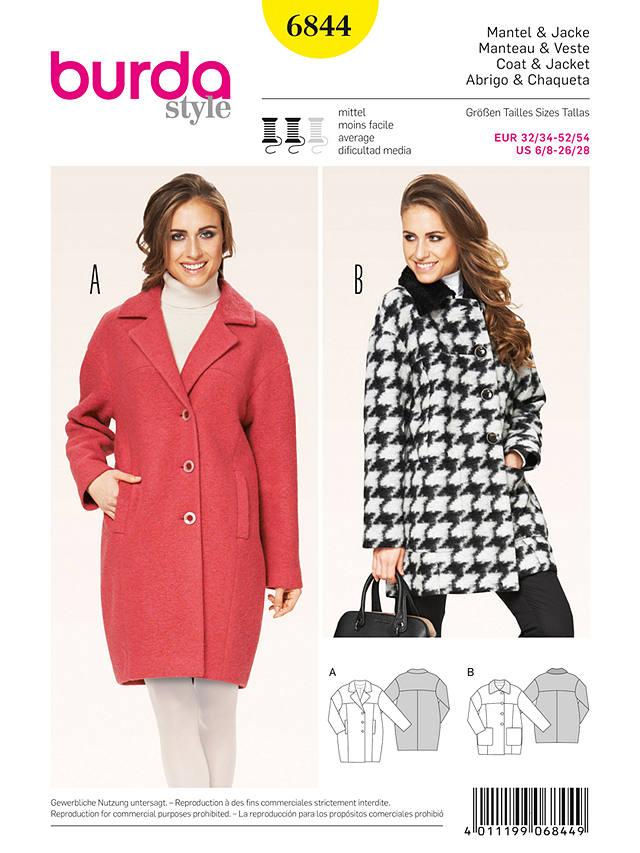 Burda Women S Coat Sewing Pattern 6844, Ladies Winter Coat Sewing Pattern