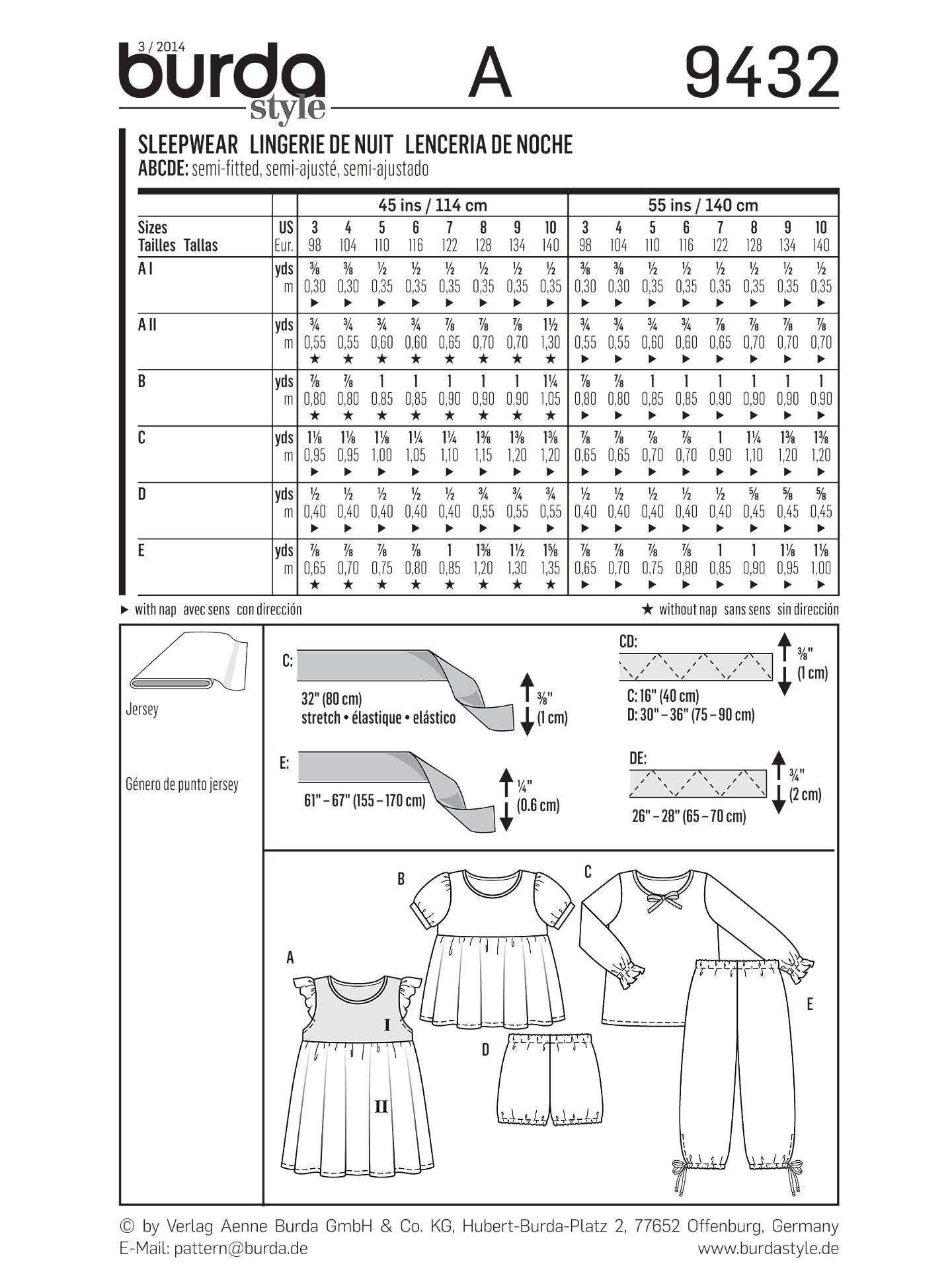 4e95f05055 ... BuyBurda Kids Girls  Nightwear Sewing Pattern