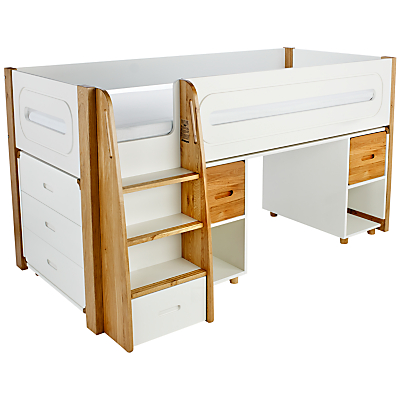 Stompa Curve Mid-Sleeper, 3 Drawer Chest and Desk, 2 Doors