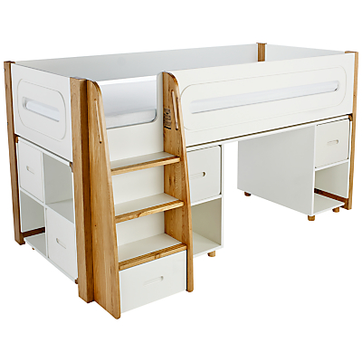 Stompa Curve Mid-Sleeper, Desk and Cube Shelving Unit, 4 Doors