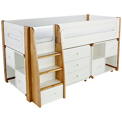 Stompa Curve Mid-Sleeper, 3 Drawer Chest and 2 Cube Shelving Units, 4 Doors