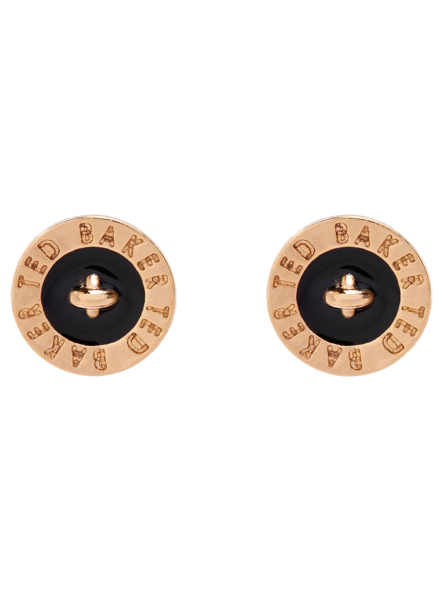 913ad6744 Buy Ted Baker Tempany Enamel Logo Stud Earrings, Gold/Black Online at  johnlewis.