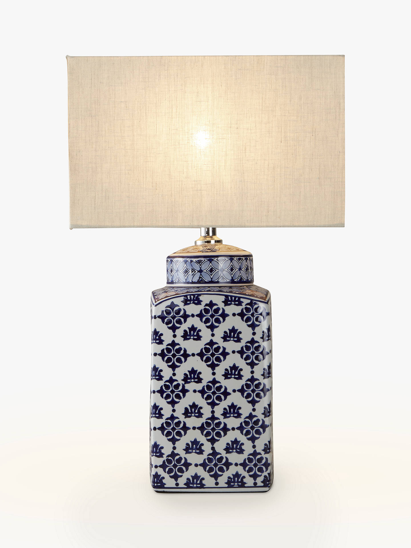 John Lewis Partners Beth Ceramic Lamp Base Blue White H40cm