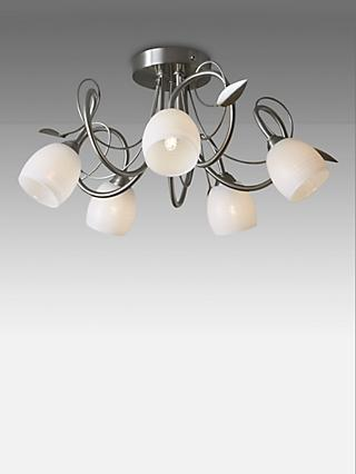 John Lewis & Partners Amara Semi Flush 5 Arm Ceiling Light, Satin Nickel