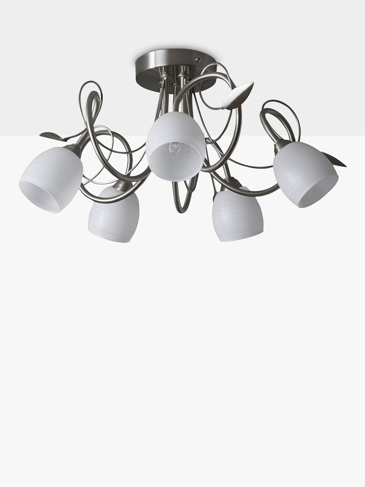 John Lewis Partners Amara Semi Flush 5 Arm Ceiling Light Satin Nickel At John Lewis Partners