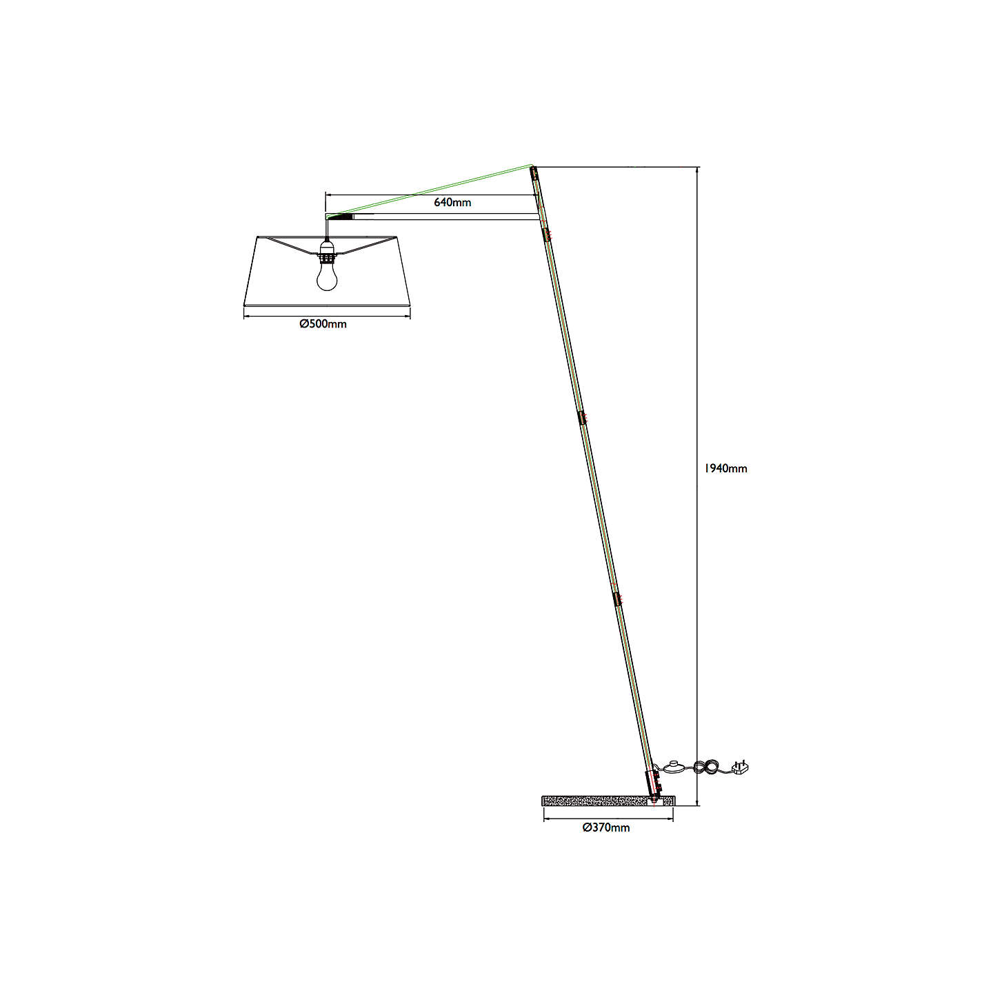 BuyJohn Lewis Grayson Reach Floor Lamp, Grey Online at johnlewis.com