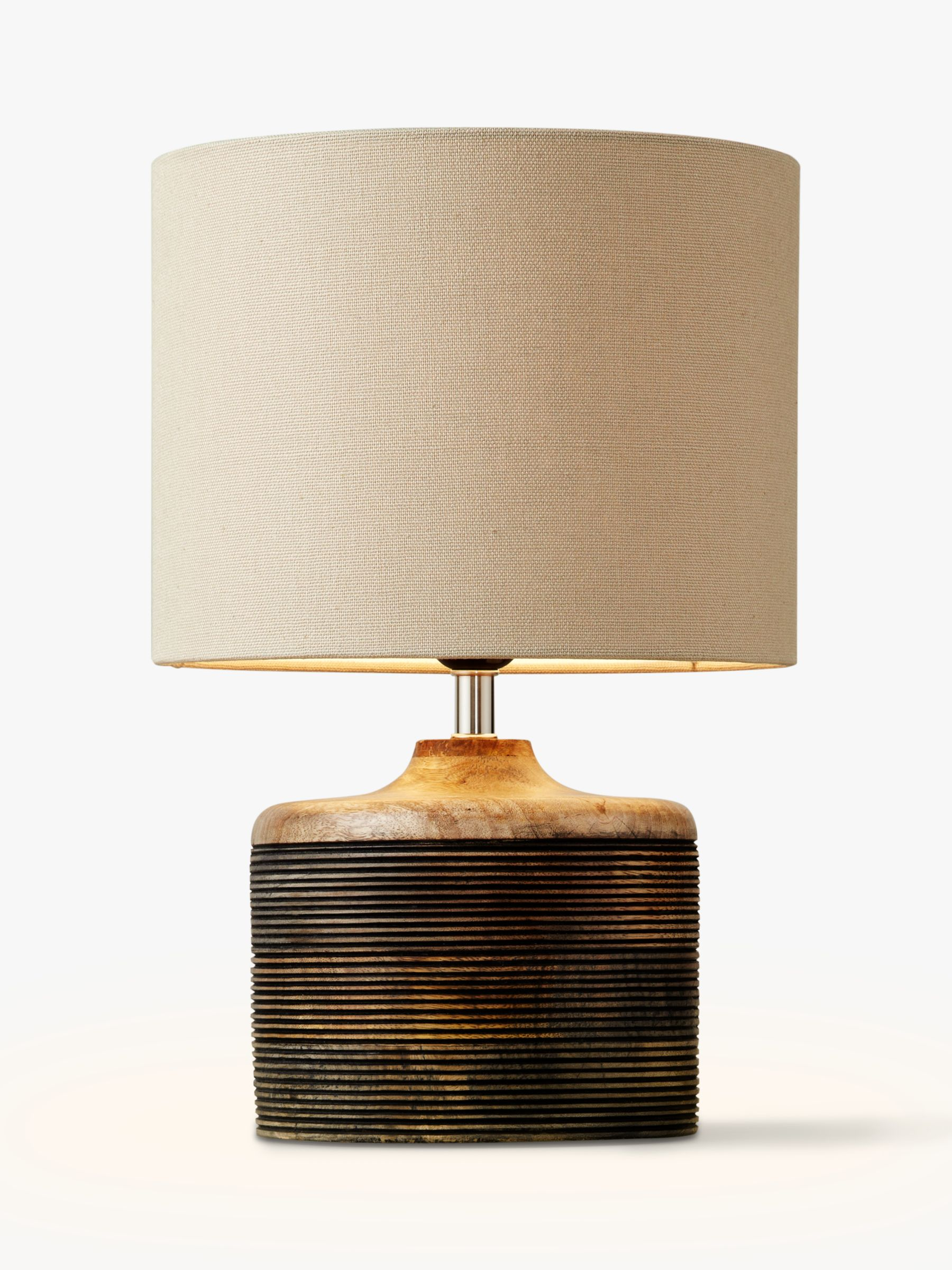 John Lewis Partners Ira Ribbed Wooden Table Lamp Brown