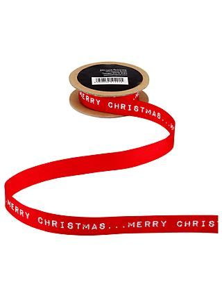 John Lewis & Partners Merry Christmas Ribbon, 3m, Red