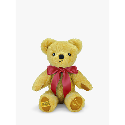 Product photo of Merrythought personalised london curly gold teddy bear with gold thread