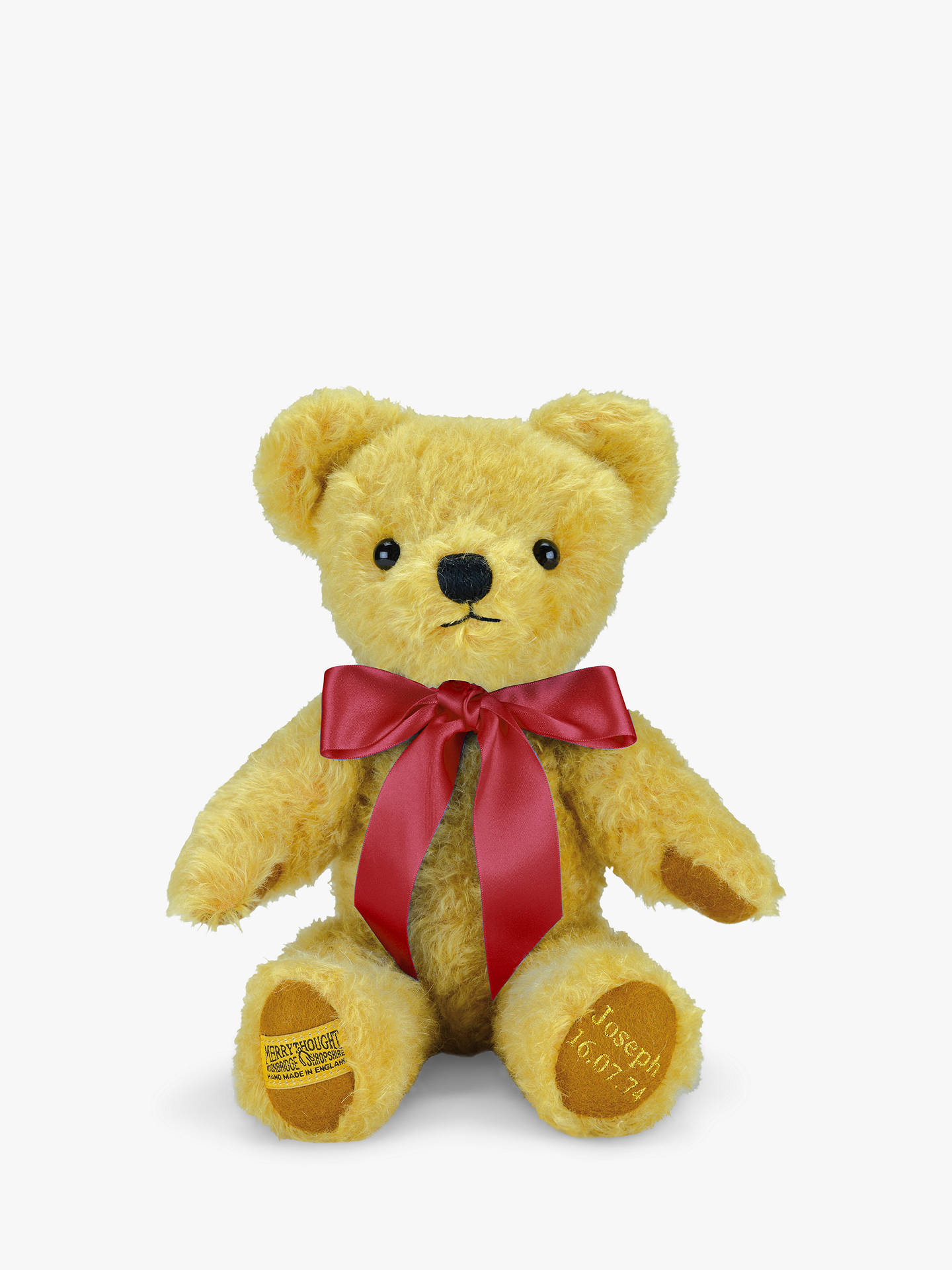 BuyMerrythought Personalised London Curly Gold Teddy Bear With Gold Thread Soft Toy, Red Online at johnlewis.com