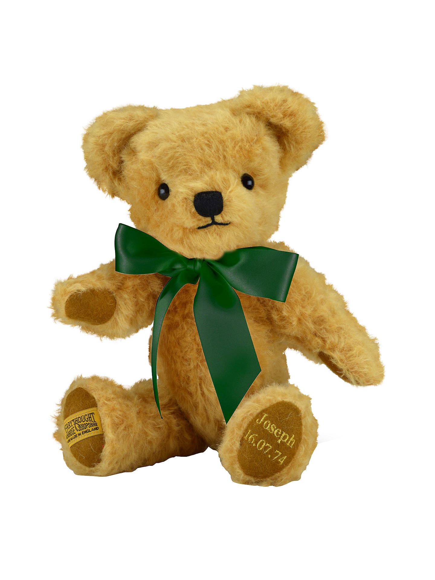 BuyMerrythought Personalised London Curly Gold Teddy Bear With Gold Thread Soft Toy, Green Online at johnlewis.com