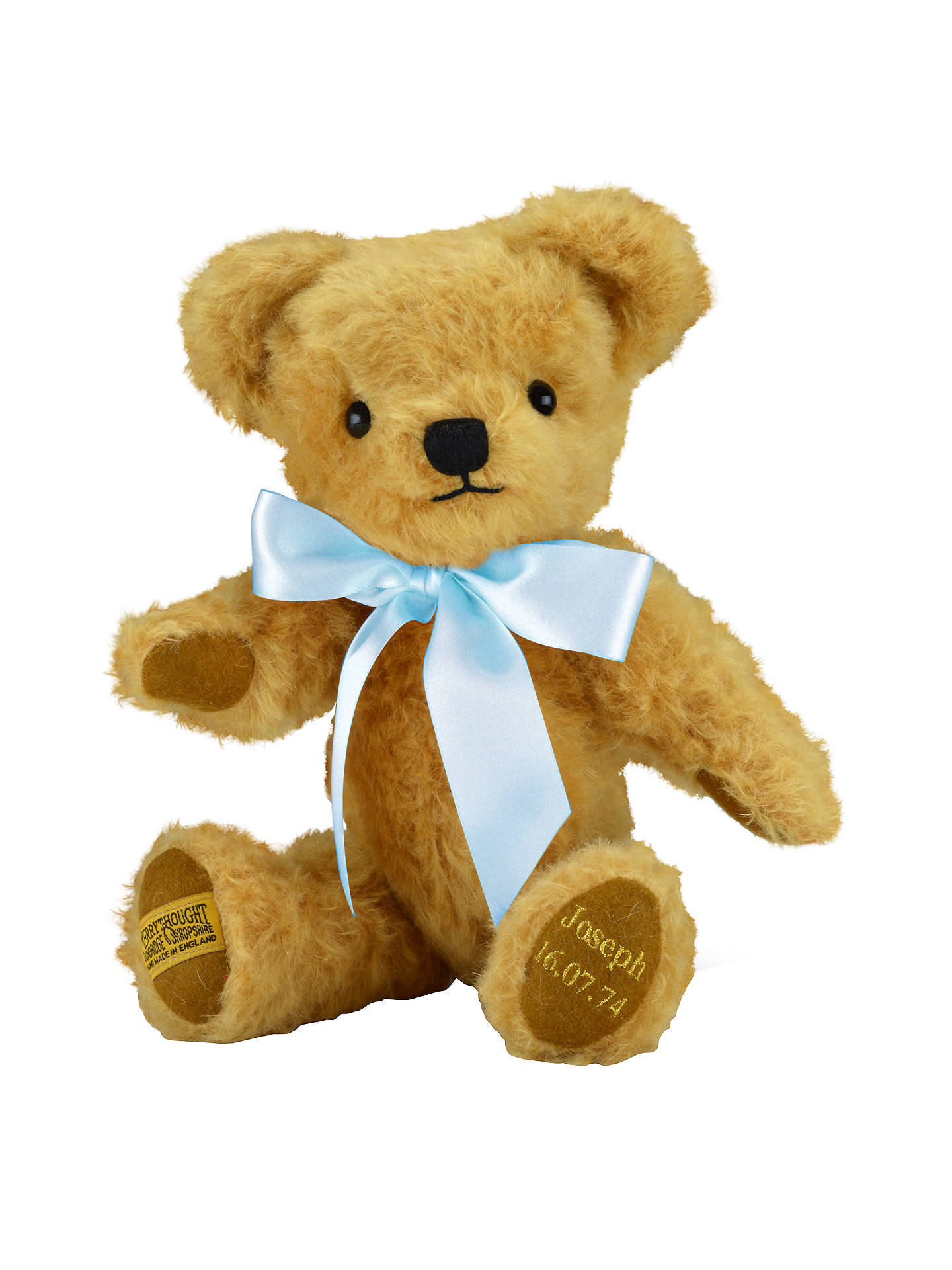 BuyMerrythought Personalised London Curly Gold Teddy Bear With Gold Thread Soft Toy, Baby Blue Online at johnlewis.com