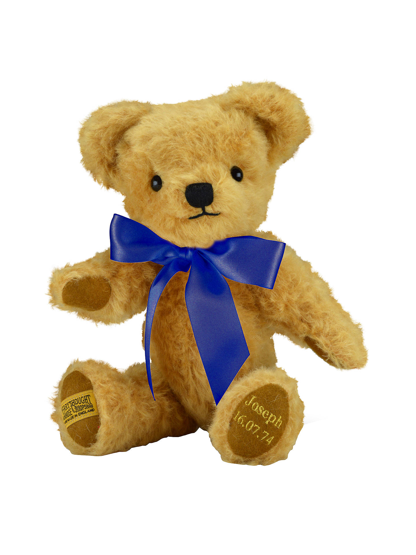 BuyMerrythought Personalised London Curly Gold Teddy Bear With Gold Thread Soft Toy, Navy Online at johnlewis.com