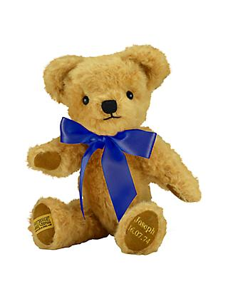 Merrythought Personalised London Curly Gold Teddy Bear With Gold Thread Soft Toy