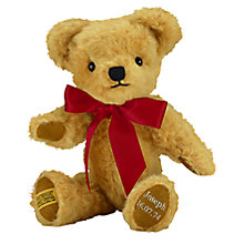 Buy Merrythought Personalised London Curly Gold Teddy Bear with Silver Thread Online at johnlewis.com