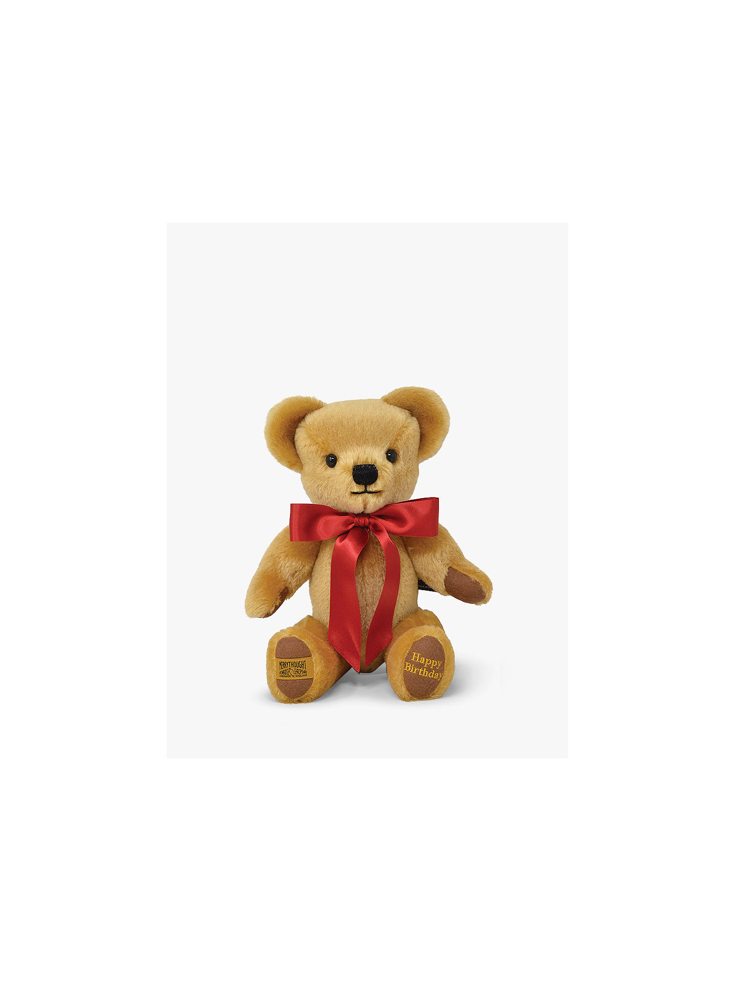 Buy Merrythought Personalised London Gold Teddy Bear With Gold Thread Soft Toy, Red Online at johnlewis.com