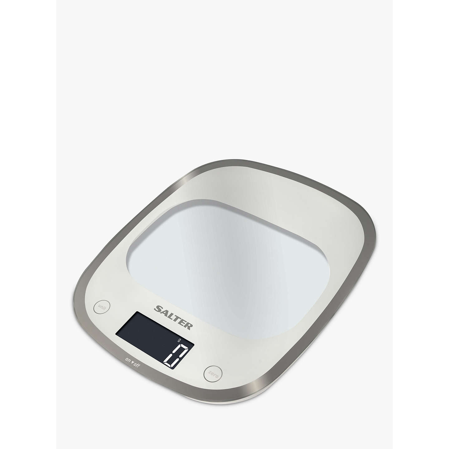Salter Curve Glass Electronic Kitchen Scale, White at John Lewis
