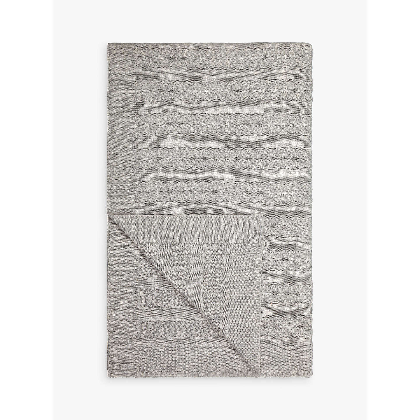 BuyCroft Collection Cashmere Blend Cable Knit Throw, Grey Online at johnlewis.com