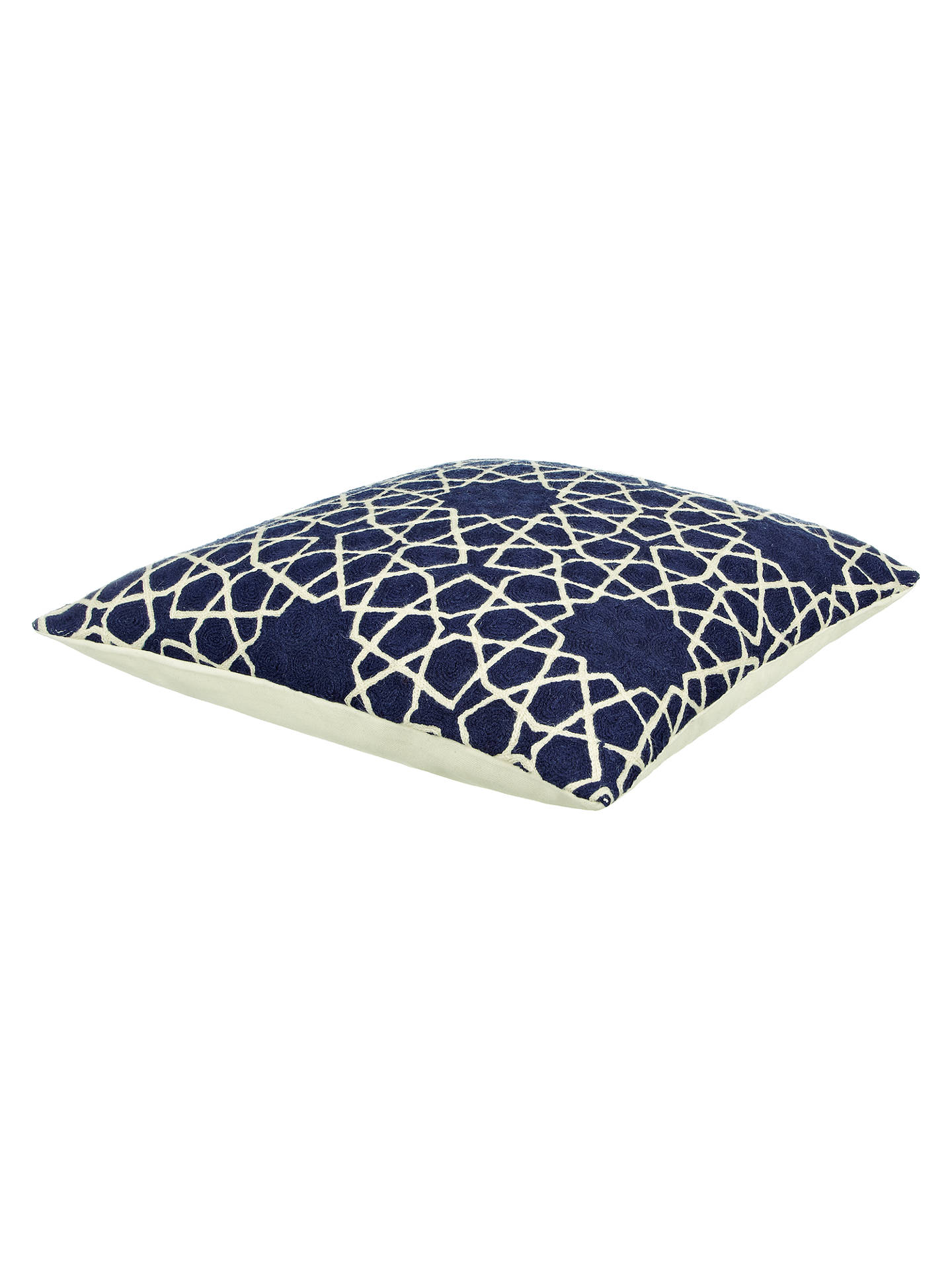 Buy John Lewis Fusion Lattice Cushion, Navy Online at johnlewis.com