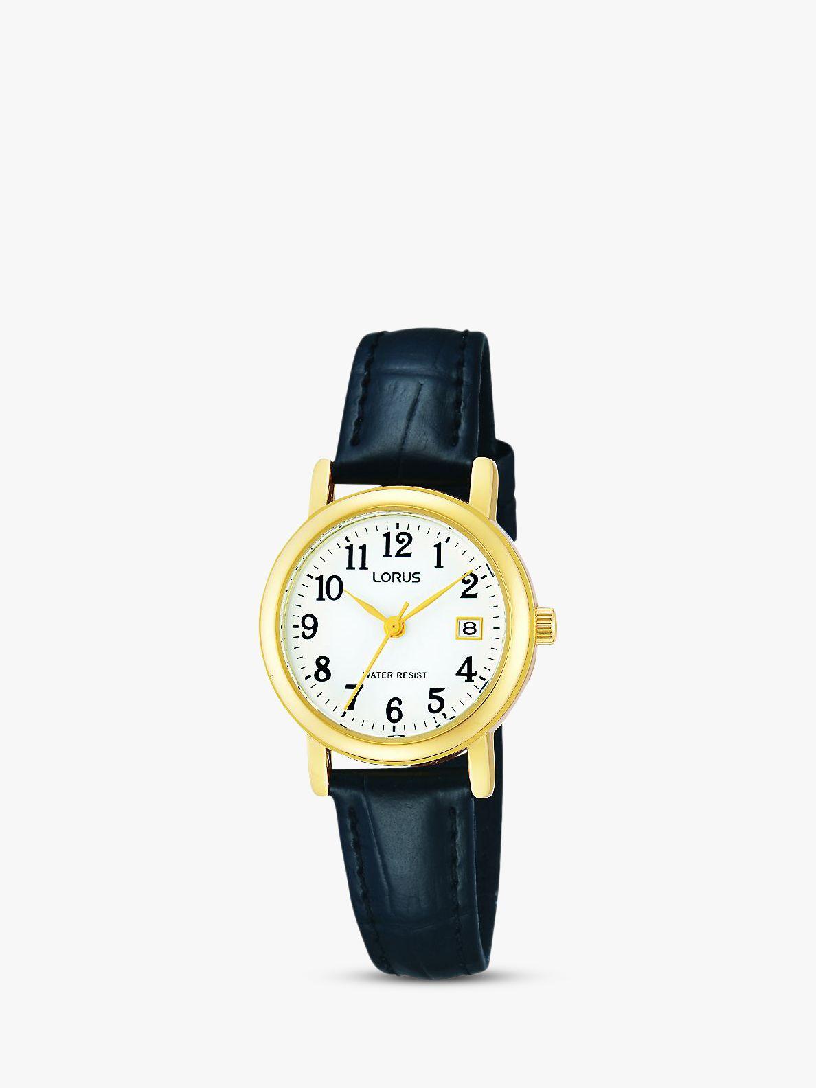 Lorus Lorus RH764AX9 Women's Leather Strap Watch, Black/White
