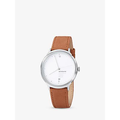 Mondaine MH1L2210LG Unisex Helvetica Leather Strap Watch, Brown/White