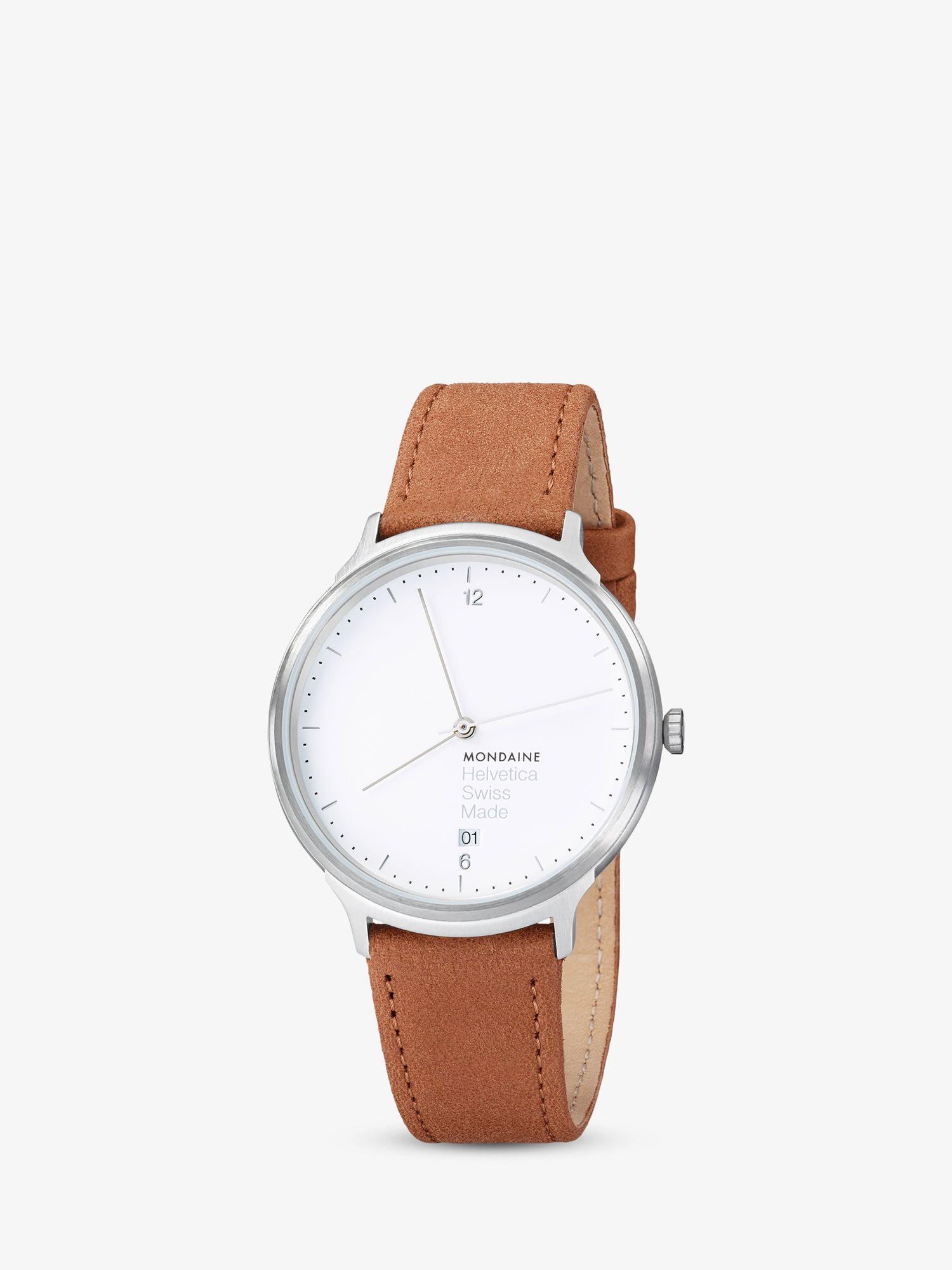 Mondaine Mondaine MH1L2210LG Unisex Helvetica Leather Strap Watch, Brown/White