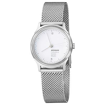Mondaine MH1L1110SM Unisex Helvetica Mesh Bracelet Strap Watch, Silver/White