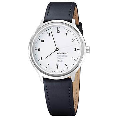 Mondaine MH1R2210LB Unisex Helvetica Leather Strap Watch, Black/White