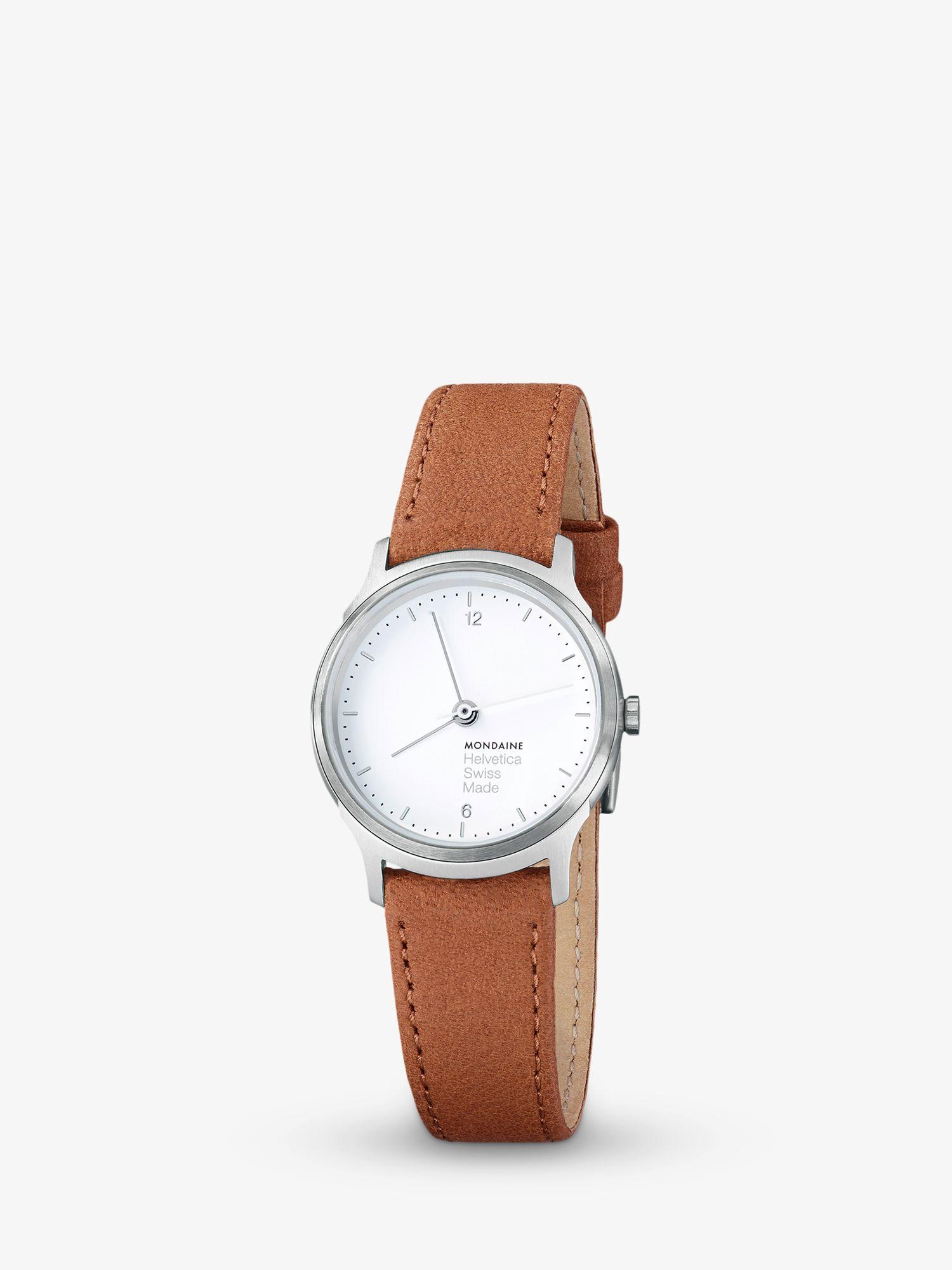 Mondaine Mondaine MH1L1110LG Unisex Helvetica Leather Strap Watch, Brown/White