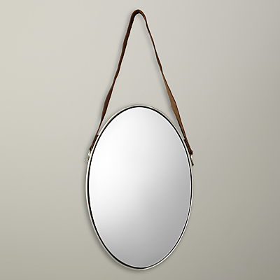 John Lewis Oval Hanging Mirror with Strap, 48 x 31cm, Nickel