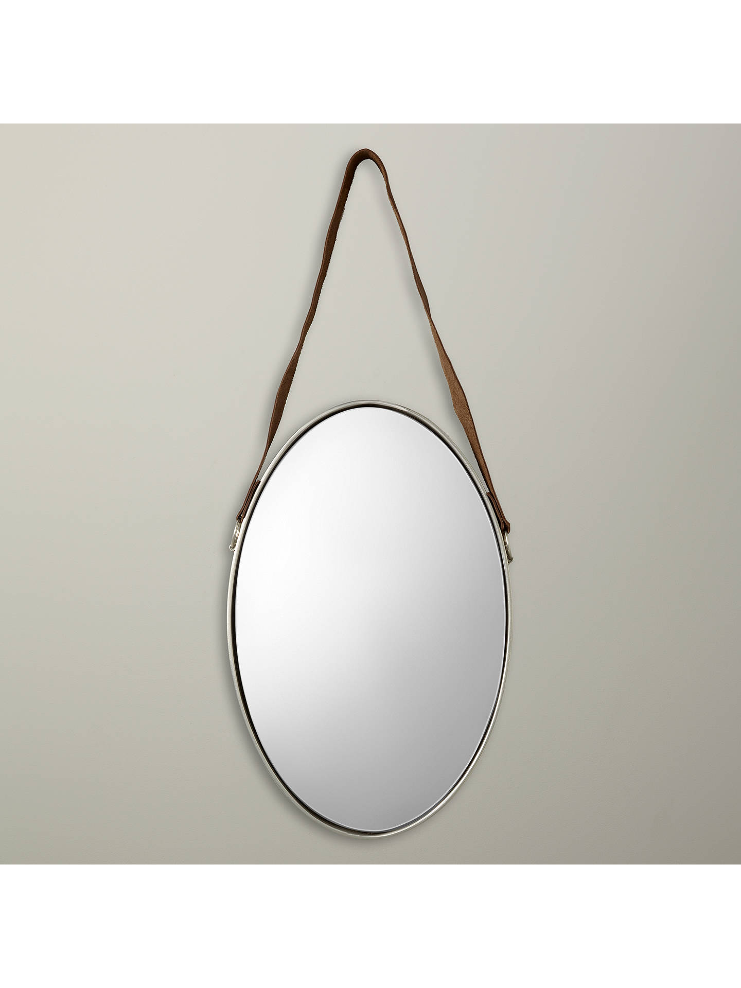 BuyJohn Lewis & Partners Ronda Oval Hanging Mirror with Strap, 48 x 31cm, Nickel Online at johnlewis.com