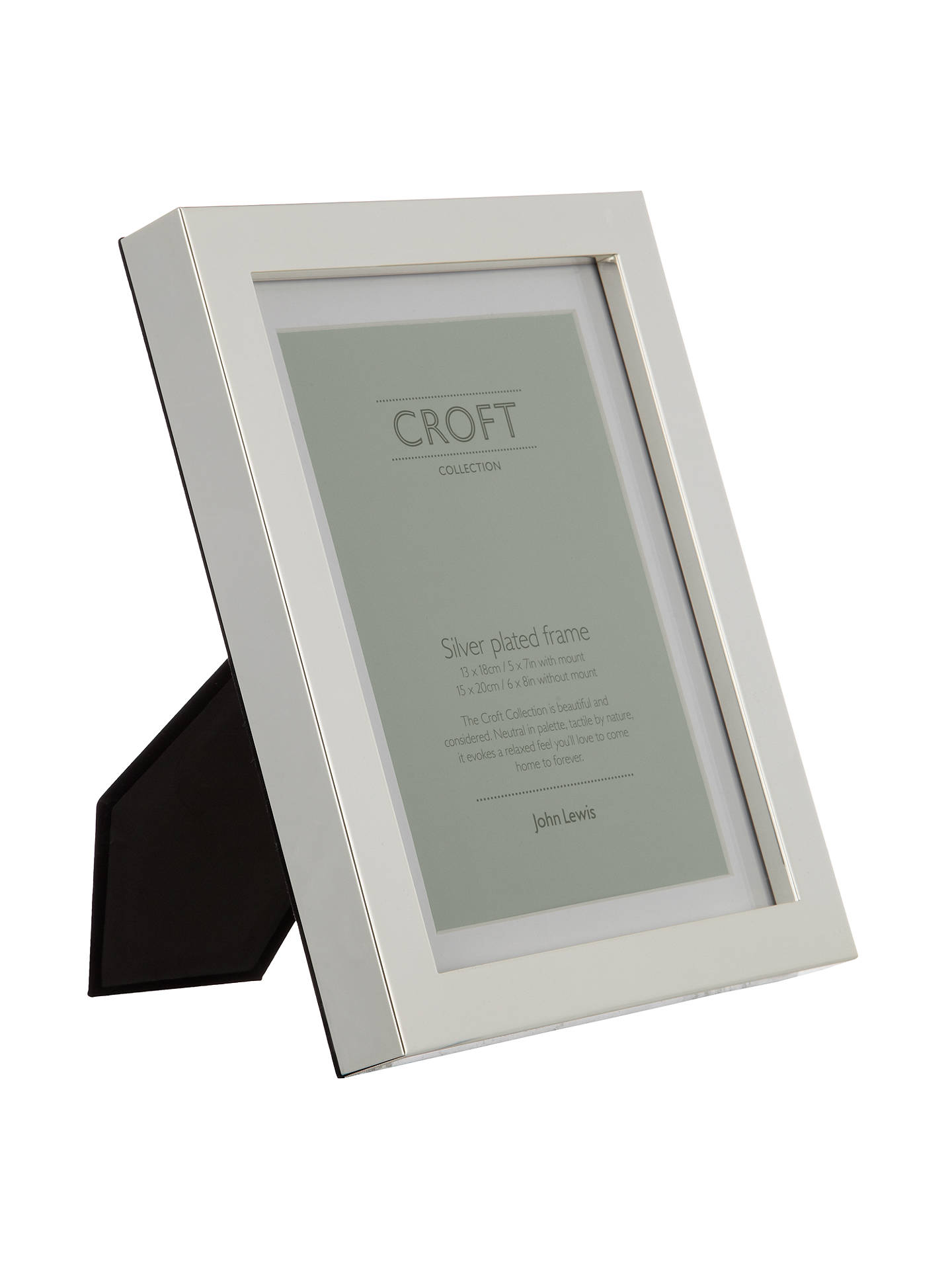 Croft Collection Silver Plated Box Photo Frame, 5 x 7\